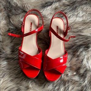 Prada Leather Cork Wedge Sandals